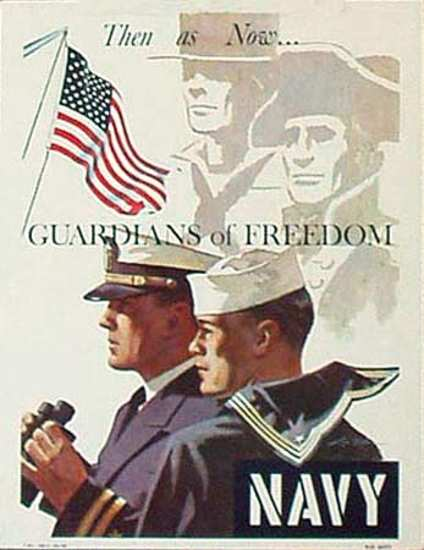Navy Recruiting Poster - Then ... as ... Now ... Guardians of Freedom