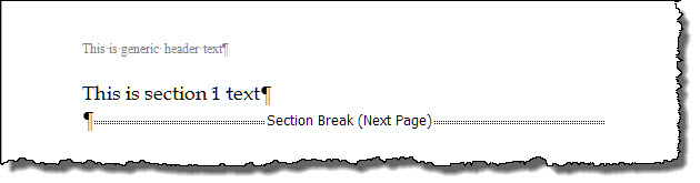Add Section Break and Unlink Header/Footer