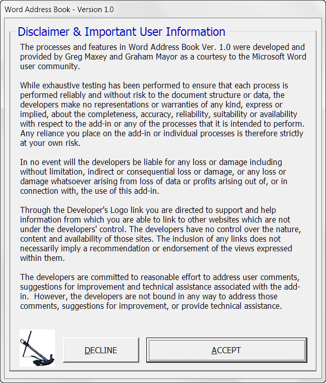 microsoft word address book