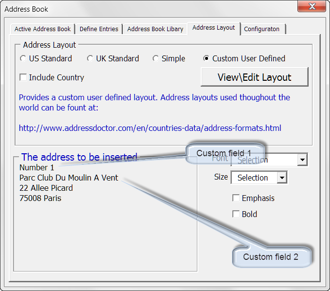 how to add address blook in word