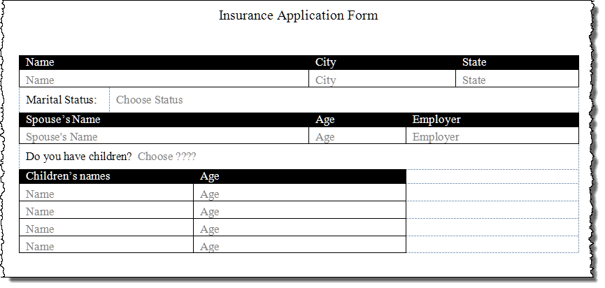 Create a Form Using Word Content Controls – Word Form Template
