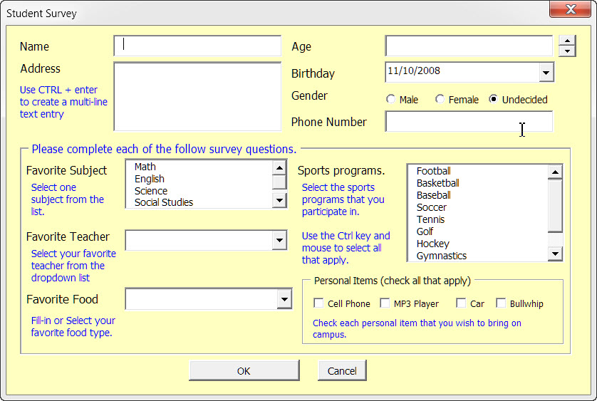 exemple de userform vba