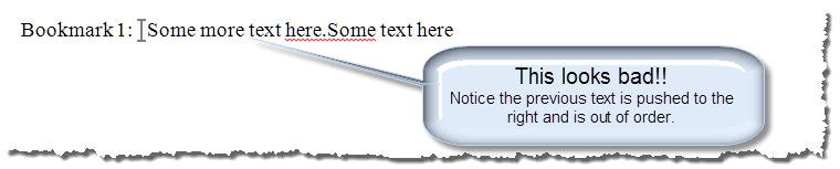insert text in bookmark 4