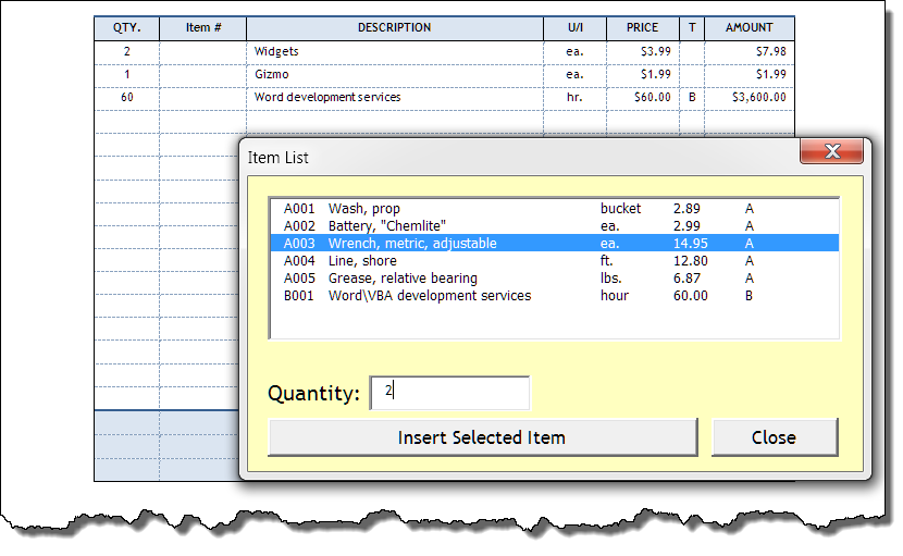 invoice automated for word