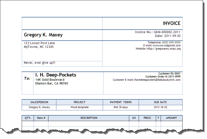 Invoice Automated For Word - How to create an invoice in word for service business