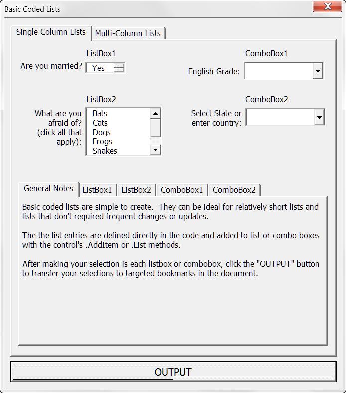 Populate UserForm ListBox/ComboBox Á Advanced Functions
