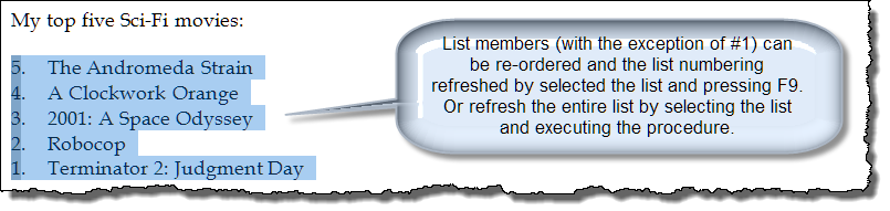 reverse number list