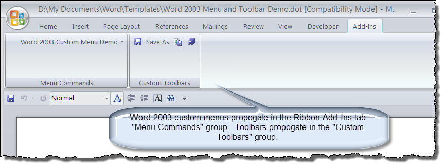 Ribbonqat user interface for Word 2010 templates and add ins