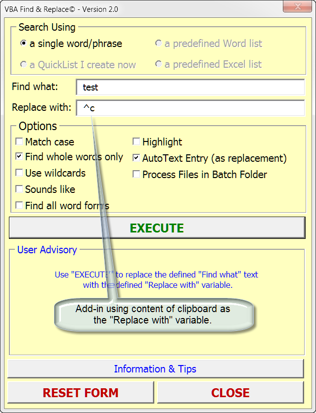 VBA Find & Replace